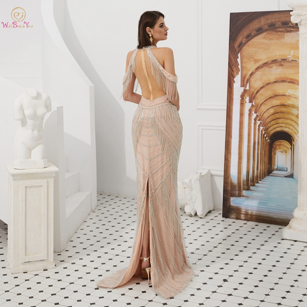 Off Shoulder   Prom     Dresses   2019 Back Split Cut Out O Neck Mermaid Long Beading Tassel Sequined Champagne Evening Gown Party Wear