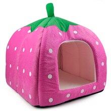DSHA New Hot Soft Strawberry Pet Igloo Dog Cat Bed House Kennel Doggy Fashion Cushion Basket