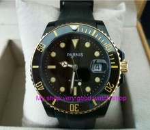 40mm PARNIS Sapphire Crystal Japanese Automatic machinery movement men's watches black rotateing Ceramic bezel zdgd40A