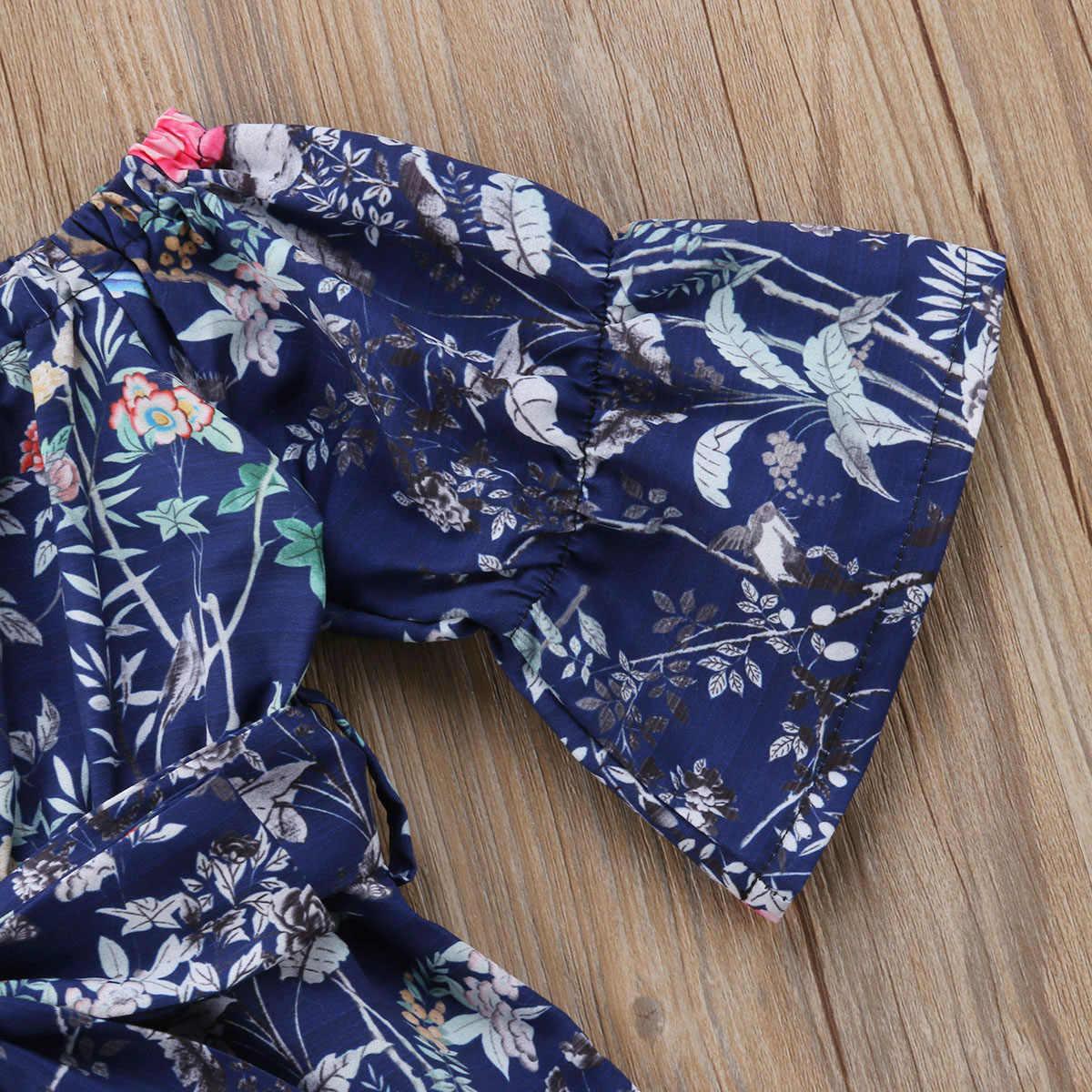 2018 Фирменная Новинка Летнее, для малыша Одежда для детей; малышей; девочек Комбинезон с открытыми плечами с расклешенными рукавами комбинезоны брюки для девочек; одежда с цветочным принтом