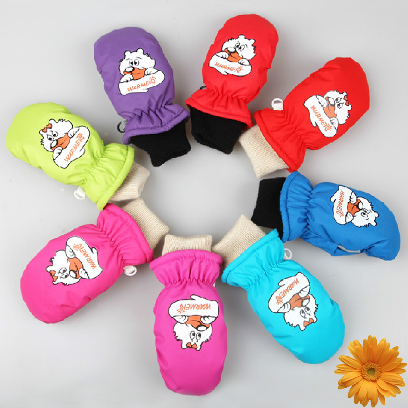 Free Shipping Winter Outdoor Hand Warming Skiing Mittens Kids Waterproof Windproof Gloves for 1-8 year-old Children Boys Girls