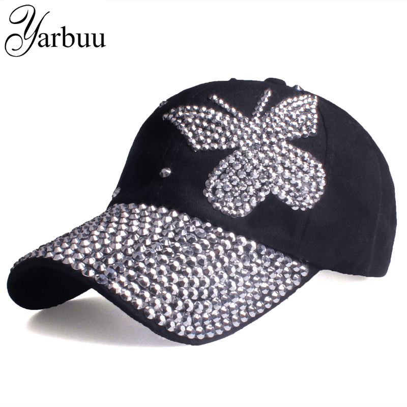 [YARBUU]Beauty caps new design popular women rhinestone denim baseball cap fashion brand woman jean crystal hip hop snapback hat cntang brand summer lace hat cotton baseball cap for women breathable mesh girls snapback hip hop fashion female caps adjustable