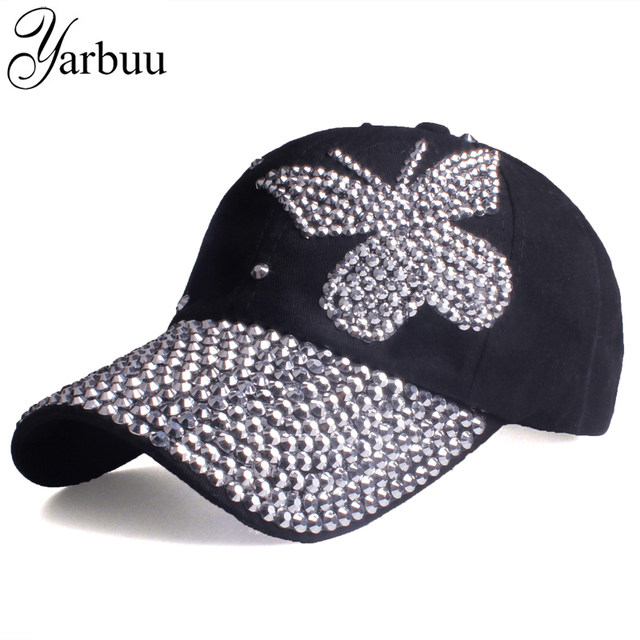7e15c5e292 [YARBUU]Beauty caps new design popular women rhinestone denim baseball cap  fashion brand woman jean crystal hip hop snapback hat-in Baseball Caps from  ...