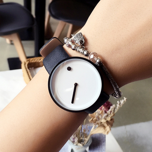 2017 cool black & white Minimalist style wristwatch bgg creative design Dot and