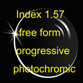 Index 1.57 free form progressive with photochromic transition lens (UV400)  HMC anti-reflective and anti-scratch
