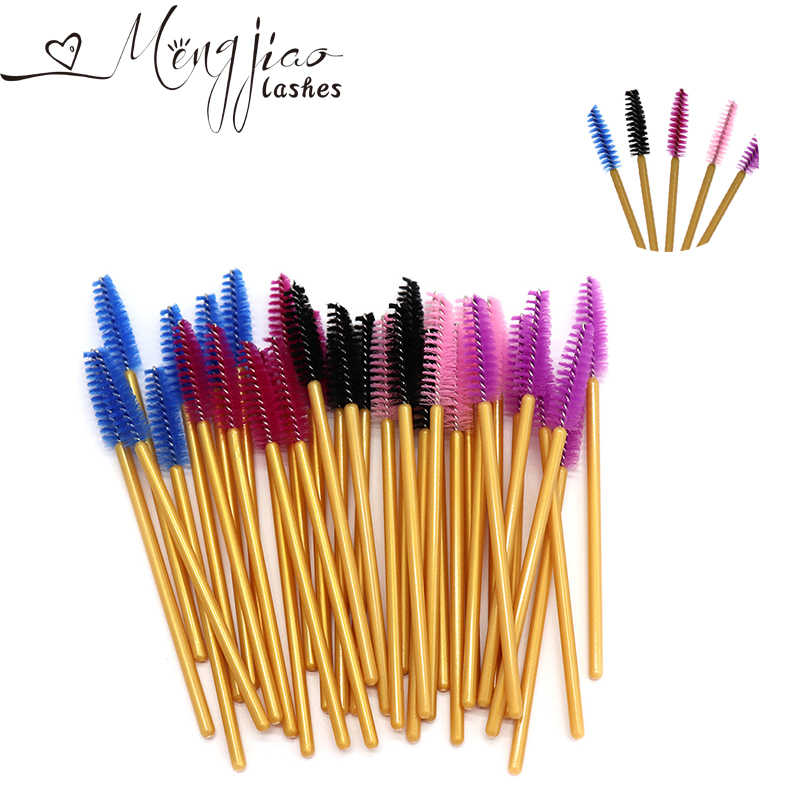Or Mascaras brosses pour Extension de cils 100 Pcs/Lot pinceaux de maquillage jetables cils sourcils peigne brosses maquillage outils