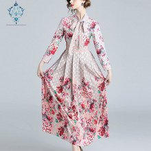 цена на CUERLY 2019 Summer Runway Letter Floral Print Collar Ribbon Tie Neck Long Sleeve Women Party Casual Empire Waist Maxi Dresses