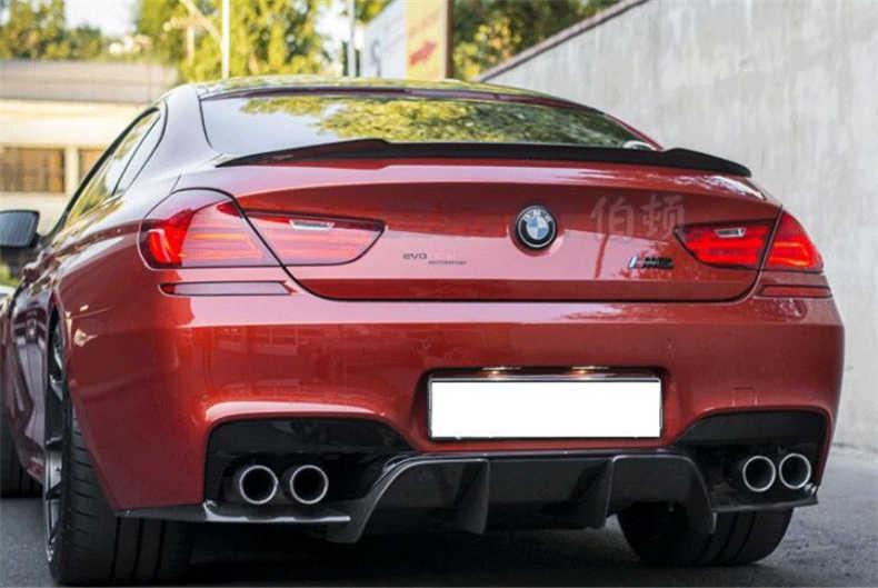 Alerón para BMW Serie 6 F12 F13 M6 F06 Gran Coupe 640i 650i 2011-2017 fibra de carbono de alta calidad estilo P alerones traseros de coche