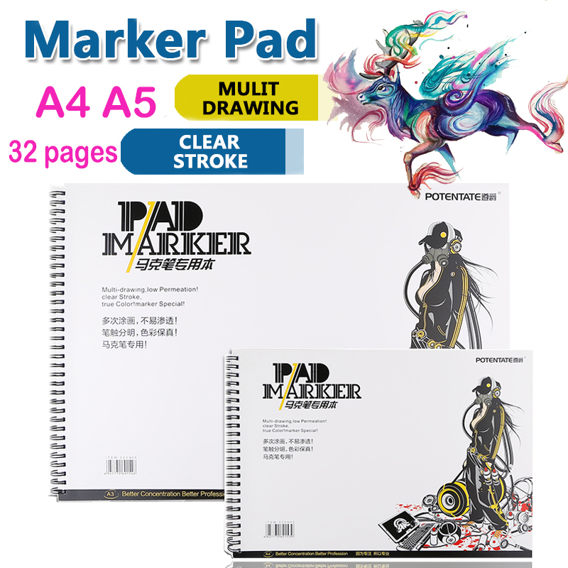 A4A5 sketch book 32 Sheets Marker Book Student Coloring Design Notebook Set for Sketch Cute Draw book School Marker Pad Supplies get smart 4 student book