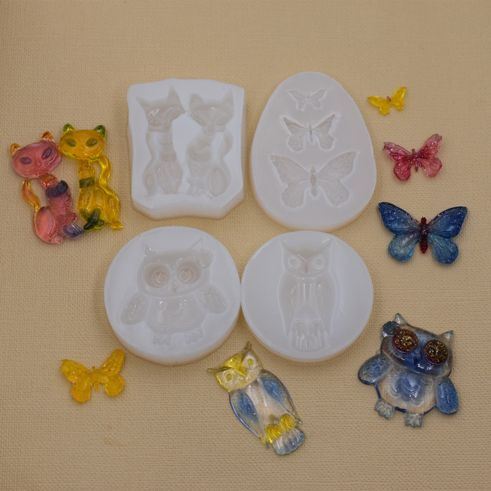 SNASAN Silicone Mold For Jewelry Butterfly Owl Cat Animals Resin Silicone Mould Handmade Tool   Resin  Epoxy Resin Molds