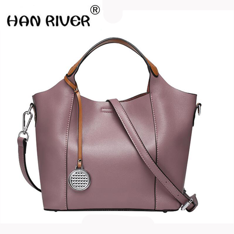 HANRIVER 2018 new spring genuine leather bag of leather for the shoulder of the bill of lading the European fashion ladies bag aetoo the new oil wax cow leather bags real leather bag fashion in europe and america big capacity of the bag