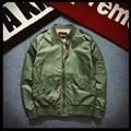 Bomber Jackets Mens Solid Flight Army Green Bomber Jacket Men's Rib Sleeve Zipper Short Air Force Baseball Coats Clothing 2017