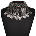 2017 New IN Ethnic Boho Chunky Choker Necklace Vintage Coins Tassel Collar Pendant Necklace Statement JURAN Fashion Jewelry