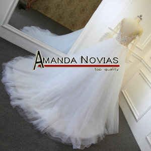 Image 5 - דגם חדש שקוף למעלה סקסי שמלות כלה Novias אמנדה העבודה האמיתית