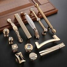 Роскошный Золотой цинковый сплав ручки ящика шкафа Европейский шкаф Мебельная ручка с винтом