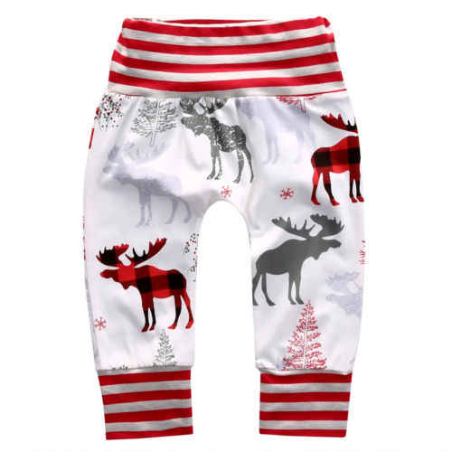 Newborn Infant Baby Boys Girls Pants Christmas Long Deer Print Bottom Harem Pants Leggings Trousers Xmas Baby Clothes