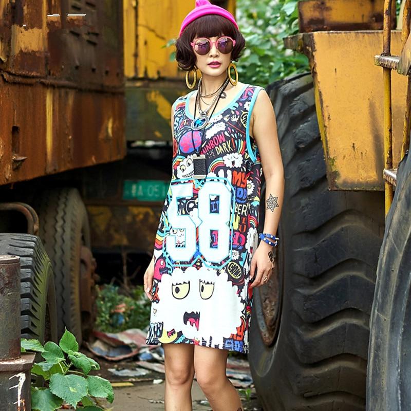 High Quality Fashion Women Sleeveless 58 Print Tops Women Vest Tank Tops Loose Tee Shirt Dress Ladies Vest