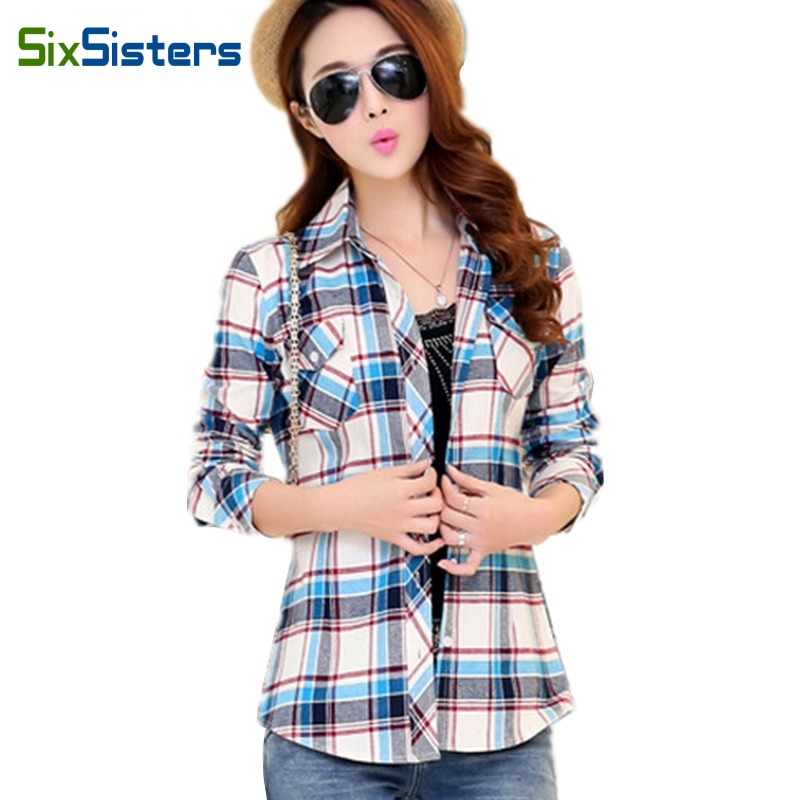 New Women Plaid Blouses Female Long-sleeve Flannel Shirts Girl Cotton Shirt turn-down Slim tops 14 Colors M L XL XXL HS1274