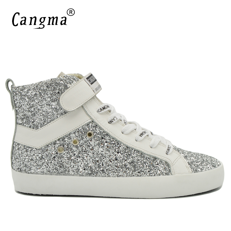 CANGMA Fashion Brand Sneakers Men Boots Designer Casual Shoes Handmade Male Genuine Leather Silver Shoes Mans Shoes Ankle Boots