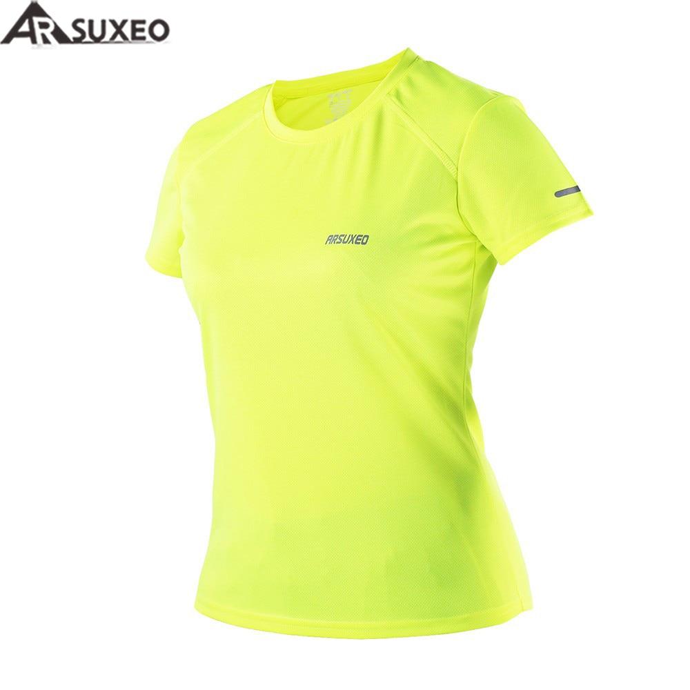 4d681468cf ARSUXEO 2017 Ativo de Jogging Correndo Camisas de T do Verão das Mulheres  Mangas Curtas Camisa Treinamento de Secagem rápida Esportes Roupas T1603