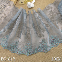 1KG 80Yard 19cm Wide Tulle Embroidered Lace Trim Embroidery Voile Guipure Lace Fabric Dentelle Sewing Accessories