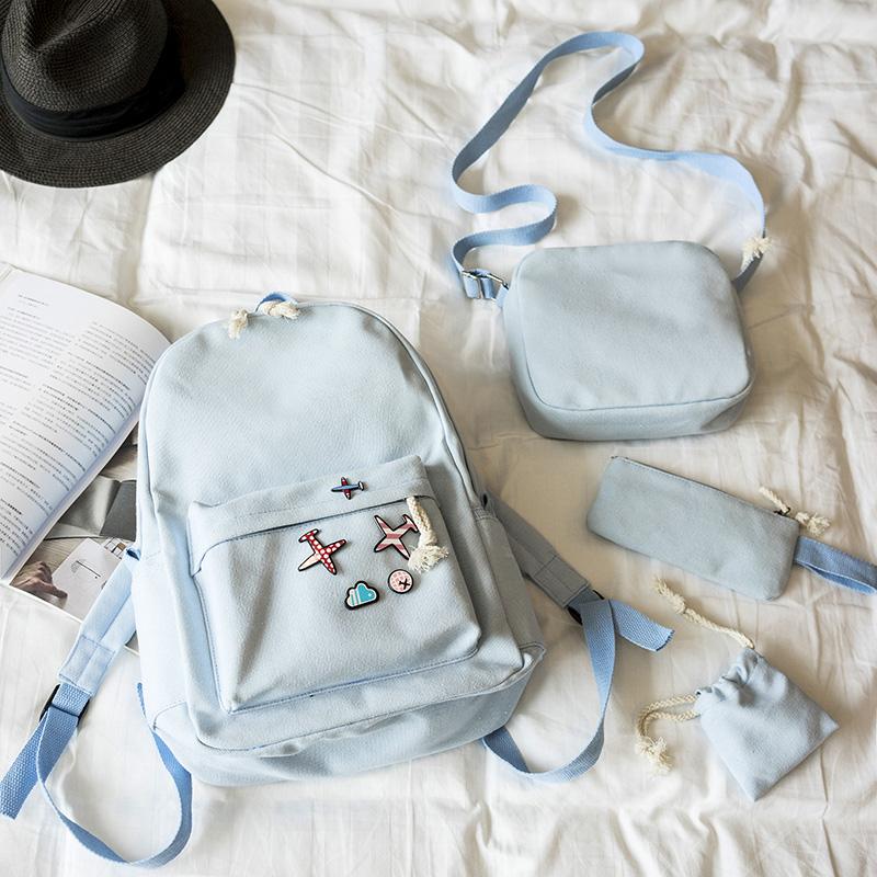 Menghuo 5 Pcsset Women Backpacks Cute Plane Badge School Bags For Teenage Girls Simple Canvas Backpacks Ladies Shoulder Bags (8)