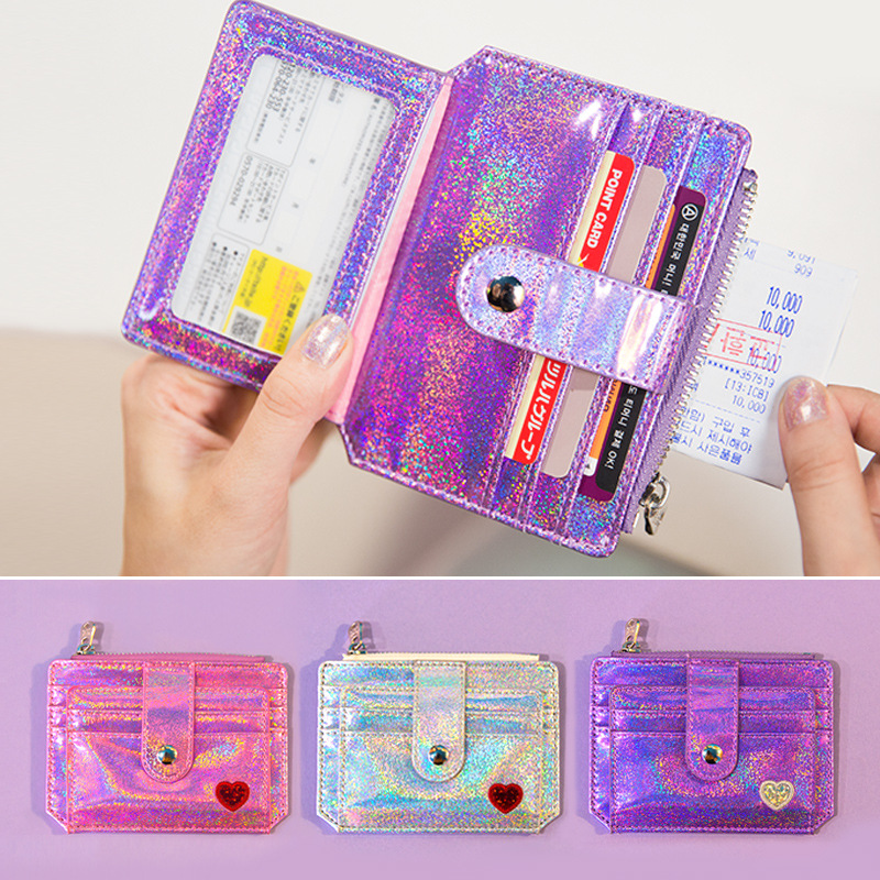 Women Sequins Laser Credit Bank Card Holder Organizer Student Cute ID Card Mini Wallets Pocket For Business Card Cover Case