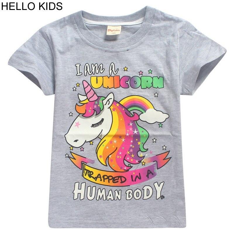 2018 New Children Cartoon unicorn Print Short Sleeve T-shirt For Boy Tshirt Girls Summer Clothing Kids Tee Tops party Clothes