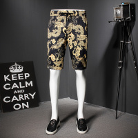 Gold Print Summer Men Shorts Baroque Designer Bermudas Masculino Cusual Fashion Bermuda Homme Short