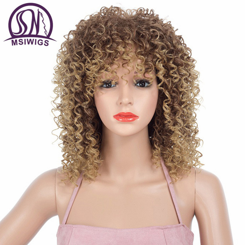 MSIWIGS Blonde Synthetic Short Curly Wigs For Women Black Afro Wig 16 Inch Grey Natural Wig Brown Hair Heat Resistant