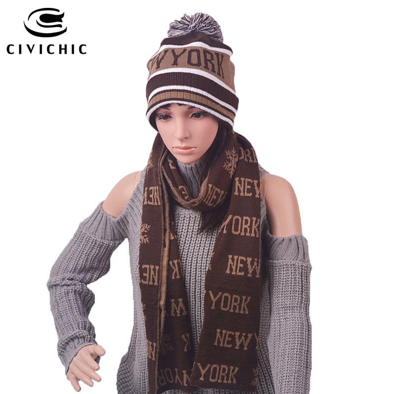 CIVICHIC Unisex Warm Faux Wool Knit Hat Scarf Set Man/woman Christmas Gift Cap New York Print Thicken Headwear Neck Shawl SH108