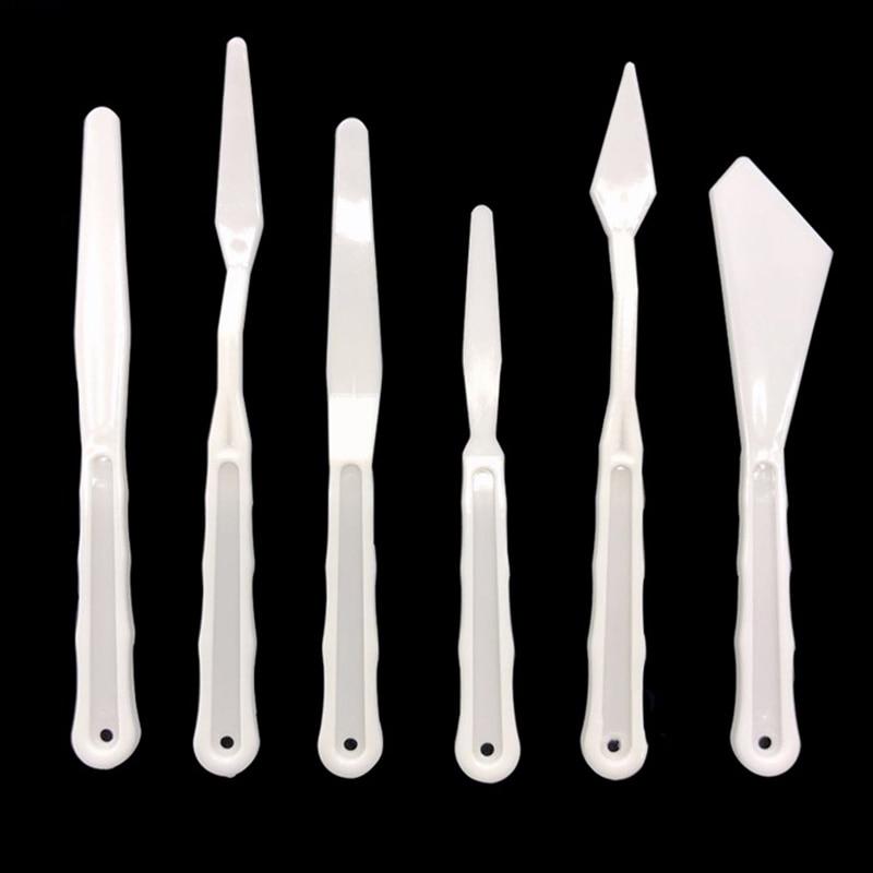 5Pcs/Set Portable Plastic Spatula Kit Palette Knife For Oil Painting Students Professional Oil Painting Tools Painting Knife