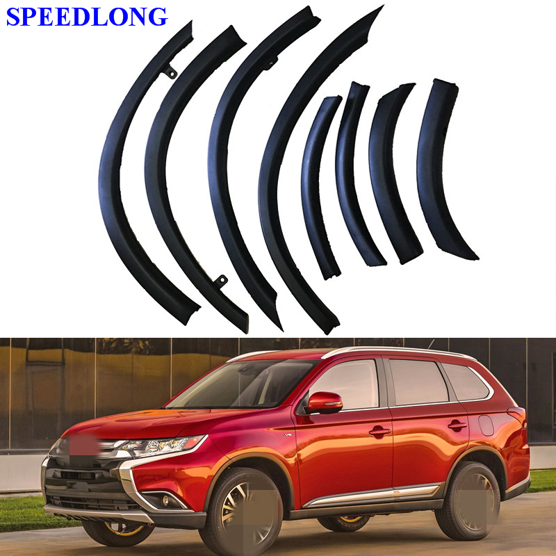1set Car Wheel Eyebrow Protection Front Rear Bumper Fender Protector Car Styling for Mitsubishi Outlander 2016-2017 1set car styling rear bumper red reflector