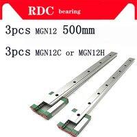 Qualidade fina 3 pces 12mm guia linear mgn12 l = 500mm trilho linear caminho + mgn12c ou mgn12h transporte linear longo para cnc eixo xyz