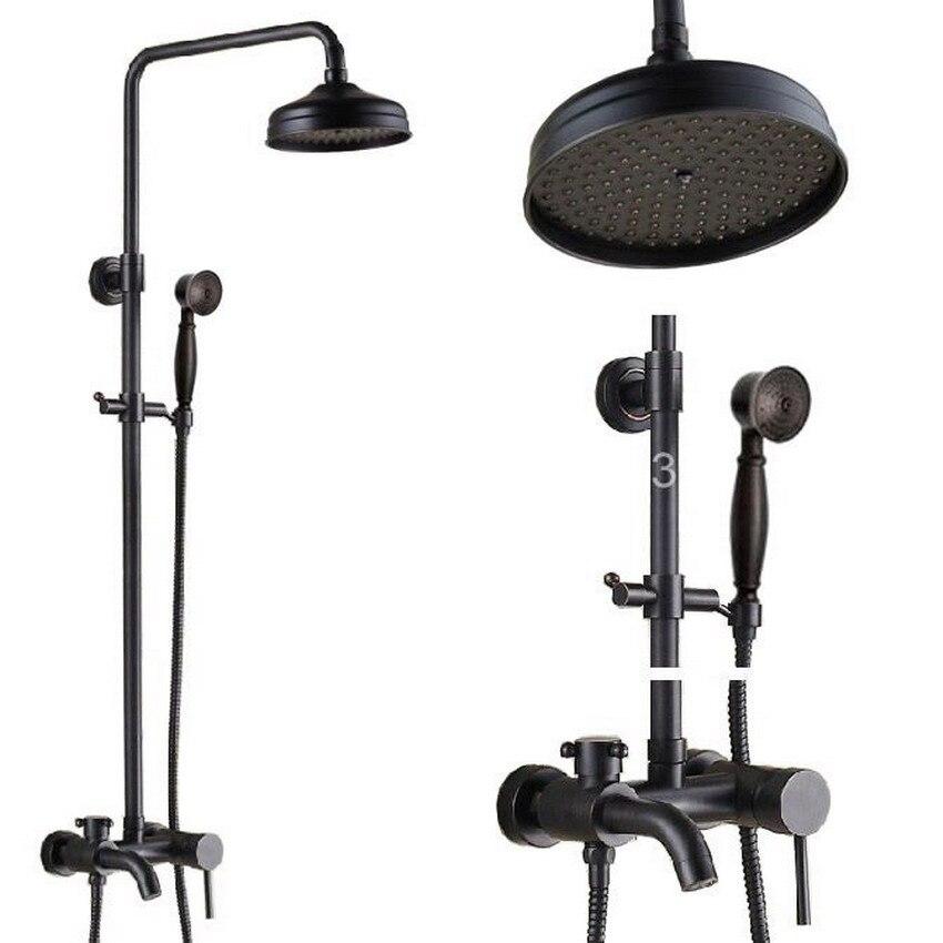 Brass Black Oil Rubbed Bronze Bathroom Rainfall Bathtub Shower Mixer Tap Faucet Single Handle Wall Mounted ars342