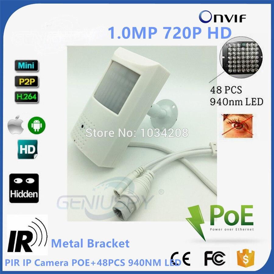 1.0MP 720 P Poe IP Камера Ночное видение 940nm ик-kamera ИК POE PIR Стиль детектор движения ONVIF ИК светодиодный мини IP Камера PoE