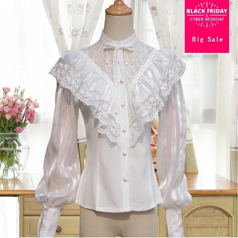 Vintage Lolita chemise en mousseline de soie noir et blanc dentelle chemise Lolita Style longue lanterne manches Blouse avec volants pour les femmes L85