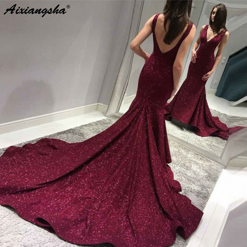Burgundy Mermaid Evening   Prom   Gown 2019 largos de fiesta V-Neck Backless Sweep Train Shinning Long   Prom     Dress