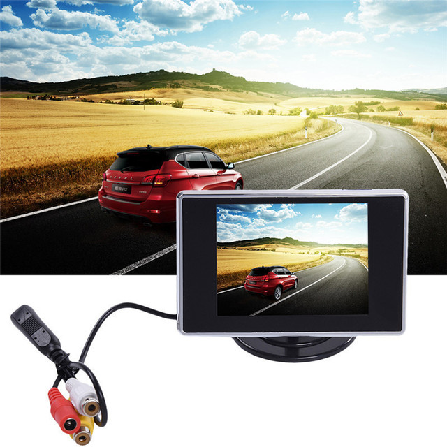 Pocket-sized de 3.5 Polegada TFT LCD a Cores Car Rear View Monitor De Estacionamento Auto Retrovisor Reversa Backup Monitor 2 Vídeo entrada