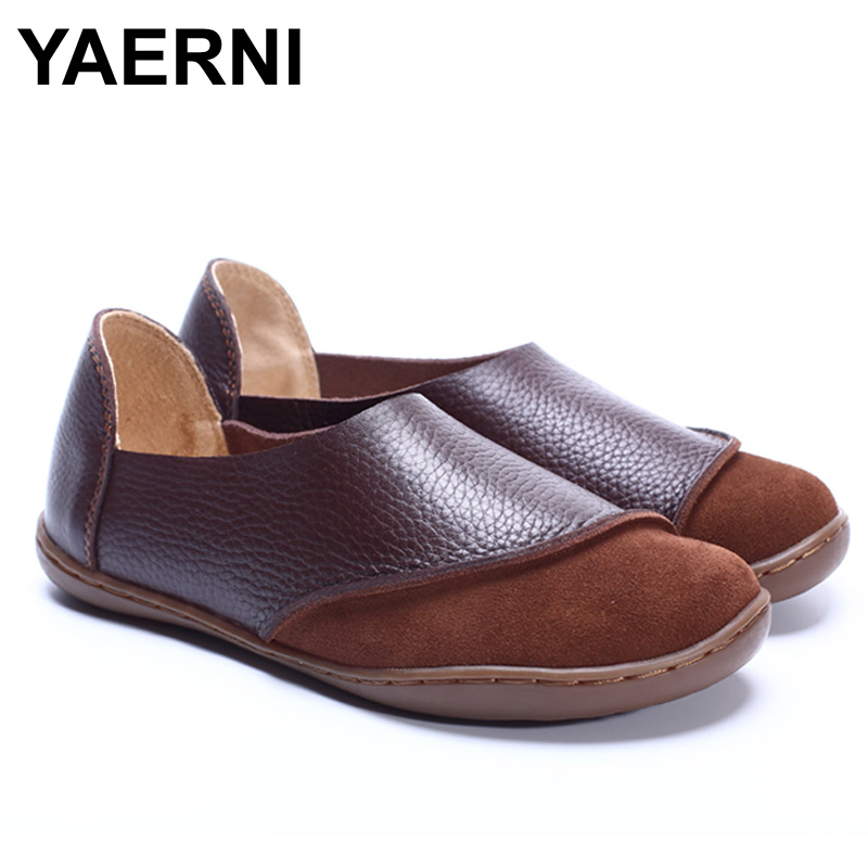 YAERNI  Women Shoes Hand-made Genuine Leather Ladies Flat Shoes Round Toe Slip on Loafers Moccasins Women Footwear прокладки клапанной крышки honda vtr1000f