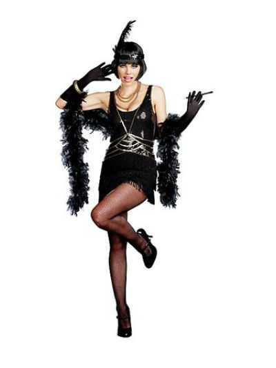 vintage 1920s flapper girl sequin fringed cocktail party dress dance costume womens 20s flapper cabaret halloween
