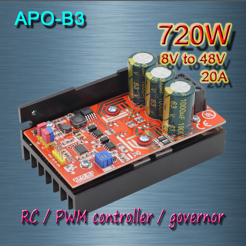 Free shipping ,  APO-B3  DC brush motor   PWM controller + RC + speed controller   720W(MAX)/8V-48V gift n home