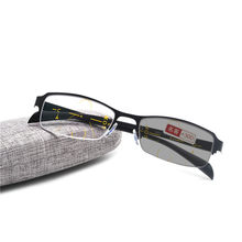 Transição Photochromic Progressive Foco Multi Óculos de Leitura Meia Armação  De Metal dos homens Óculos De Leitura UV400 NX Ajus. 7b90cba7bc