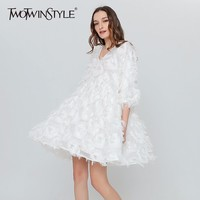 TWOTWINSTYLE Feather Casual Dress Female Black White Party Dresses For Women Sexy Tunic Big Sizes Clothes
