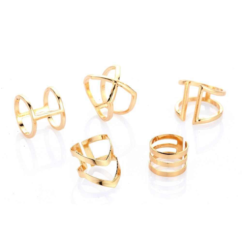 2018 Hot 5 pcs Punk Gold Color Geometric Alloy Knuckle Rings Set for Women Girl Midi Finger Rings Statement Jewelry best gift