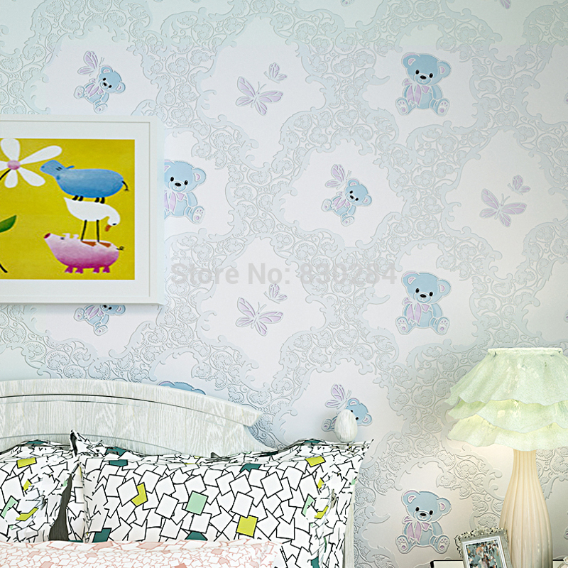 Modern Wallpapers Kids Non-Woven Wall Paper for walls Cartoon Bear 3D Wallpaper Roll for Children Bedroom Walls,papel parede beibehang friendly lovely cartoon cars wallpapers roll kids room decoration wall paper roll non woven boys bedroom wallpaper