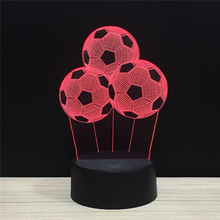 LED 3D NightLight 3 Three Football Soccer Acrylic Night Lamp Light Luminary With Touch And Remote Lamps Lights Kids Decoration