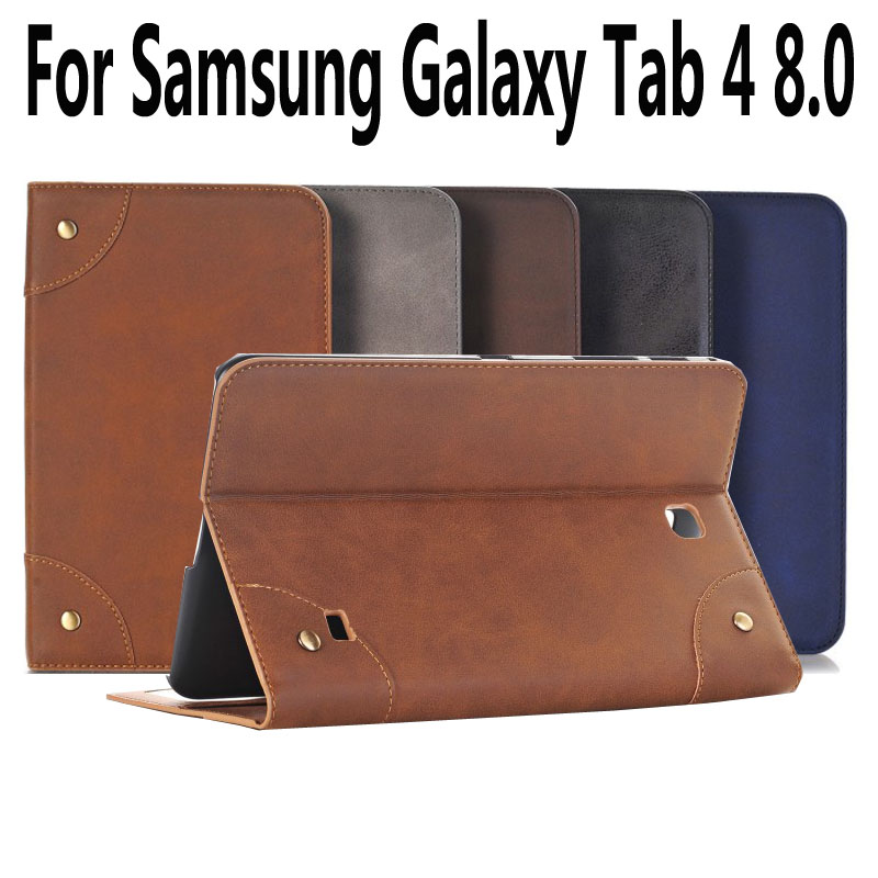 Retro Cover For Samsung Galaxy Tab 4 8.0 Case Leather T330 Tablet Case For Samsung Galaxy Tab4 8.0 Cover with Stand Holder for samsung galaxy tab 4 8 0 sm t331 pu leather case cover for samsung galaxy tab 4 8 0 inch t330 t331 t335 tablet accessories