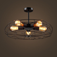 warehouse Loft retro fan Pendant lamps of European industrial wind balcony bedroom living room Cafe Pendant lights