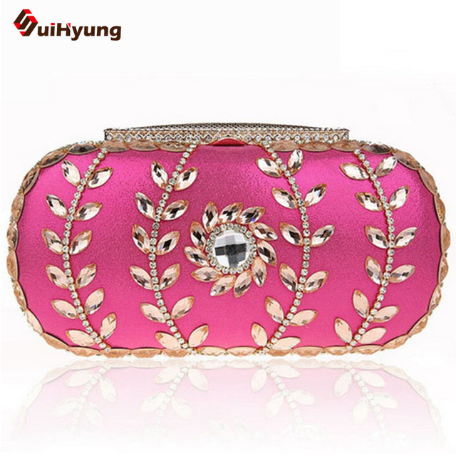 2016 New Women's Shiny Olives-Crystal Party Clutch Leaves Flowers Diamond Evening Bag Wedding Banquet Handbag Purse Shoulder Bag
